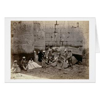 Cartão Agrupe a fotografia no Salão das colunas, Karnak,