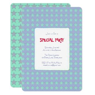 Cartão Água-marinha e estrelas azuis customizáveis
