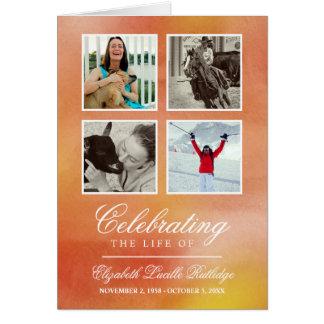 Cartão Aguarela alaranjada - programa do funeral da foto