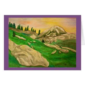 Cartão Aguarela alpina do por do sol