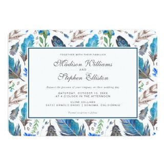 Cartão Aguarela asteca azul de Boho - casamento