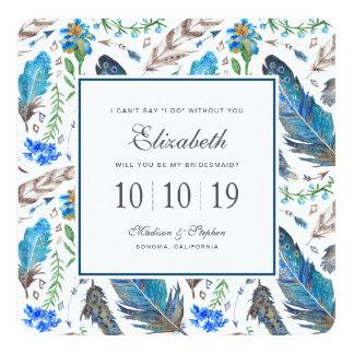 Cartão Aguarela asteca azul de Boho - dama de honra