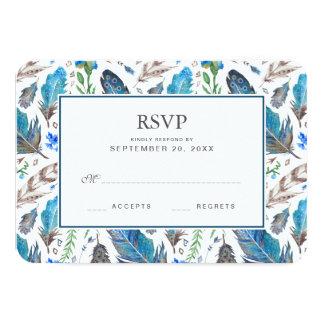Cartão Aguarela asteca azul de Boho - RSVP Wedding