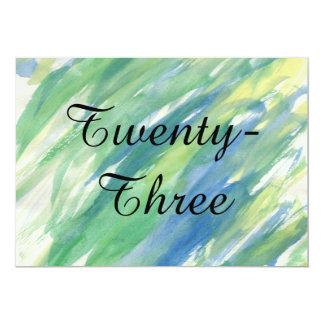 Cartão Aguarela azul amarela verde - números da mesa