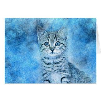 Cartão Aguarela azul do abstrato | do gatinho | do gato