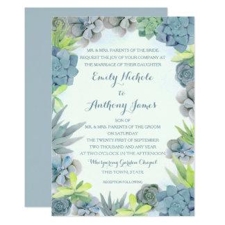 Cartão Aguarela azul do casamento de Smokey dos