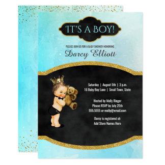 Cartão Aguarela chique de turquesa do chá | do príncipe
