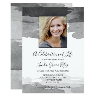 Cartão Aguarela cinzenta - foto - celebração da vida