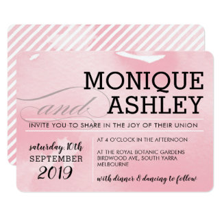 Cartão Aguarela cor-de-rosa mínima simples do CASAMENTO