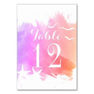 Cartão Aguarela cor-de-rosa, número da mesa do casamento