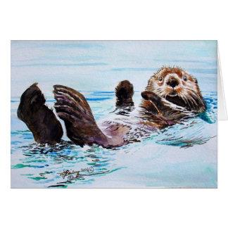 Cartão Aguarela da lontra de mar