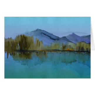 Cartão Aguarela da paisagem da serenidade