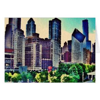 Cartão Aguarela de Chicago