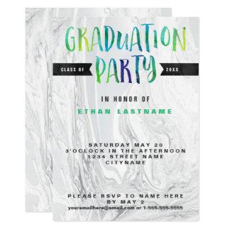 Cartão Aguarela de mármore da festa de formatura