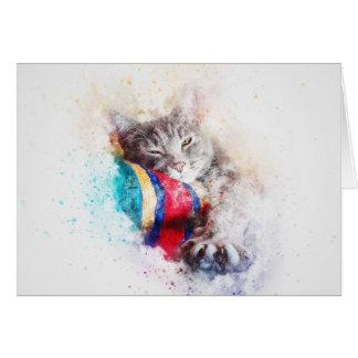 Cartão Aguarela do abstrato | do gatinho | do tempo da