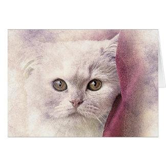 Cartão Aguarela do abstrato | do gatinho | do tempo do
