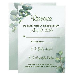 Cartão Aguarela do eucalipto que Wedding RSVP