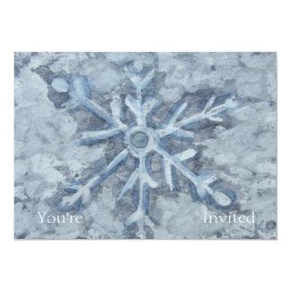 Cartão Aguarela do floco de neve do inverno