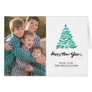 Cartão Aguarela do Natal | - árvore do verde do ano novo