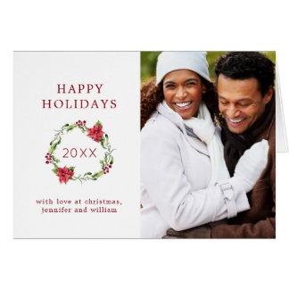 Cartão Aguarela do Natal | - grinalda do visco & do