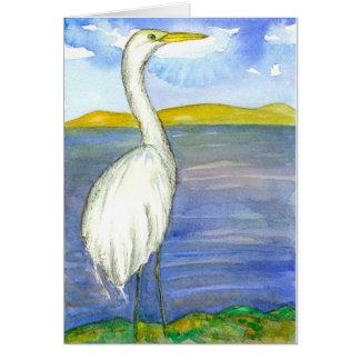 Cartão Aguarela do pássaro do Egret que pensa de você