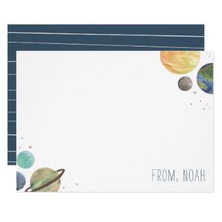 Cartão Aguarela do sistema solar