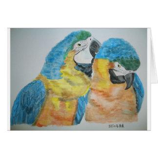 Cartão Aguarela dos papagaios dos Macaws