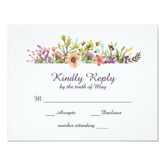 Cartão Aguarela dos Wildflowers da montanha que Wedding