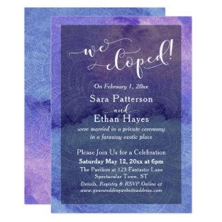 Cartão Aguarela e mandala roxas nós Eloped recepção