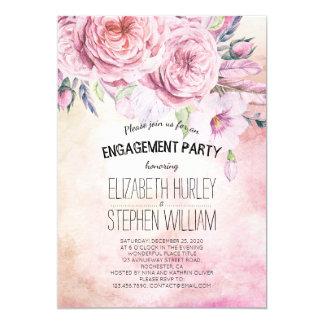 Cartão Aguarela elegante da festa de noivado do casamento