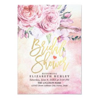 Cartão Aguarela elegante do chá de panela floral & penas