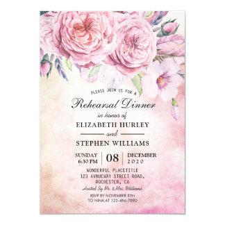 Cartão Aguarela elegante do jantar de ensaio do casamento