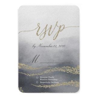 Cartão Aguarela elegante inundado no fumo que Wedding