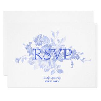Cartão Aguarela floral azul da caligrafia que Wedding