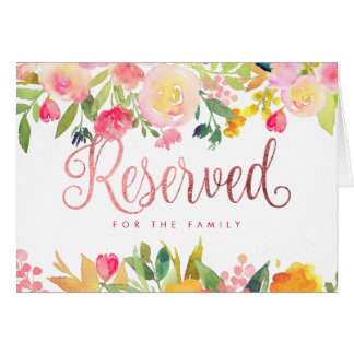 Cartão Aguarela floral de PixDezines/sinal reservado/mesa