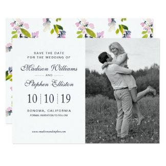 Cartão Aguarela floral delicada - salvar a data