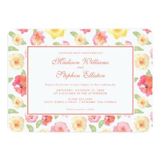 Cartão Aguarela floral do rosa & do amarelo - casamento