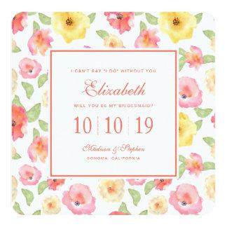 Cartão Aguarela floral do rosa & do amarelo - dama de