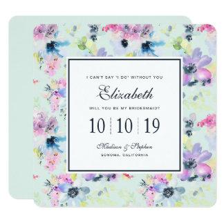 Cartão Aguarela floral Pastel bonita - dama de honra