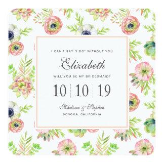 Cartão Aguarela floral & Succulents - dama de honra