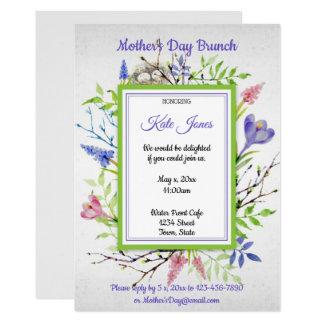 Cartão Aguarela, flores do primavera, refeição matinal do