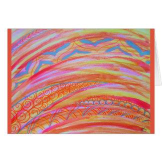 Cartão Aguarela gráfica abstrata e lápis colorido