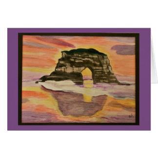 Cartão Aguarela litoral do por do sol