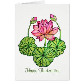 Cartão Aguarela Lotus cor-de-rosa com botões & folhas