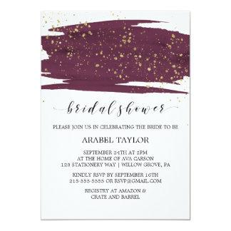 Cartão Aguarela Marsala e chá de panela da faísca do ouro