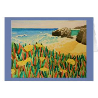 Cartão Aguarela natural da costa de Califórnia das pontes