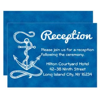 Cartão Aguarela náutica do azul da âncora da recepção de
