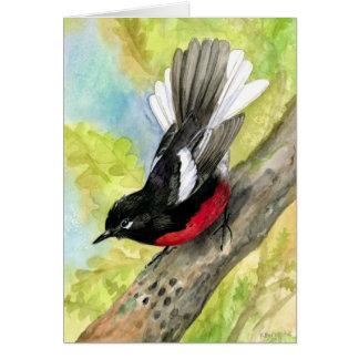 Cartão Aguarela pintada Notecard de Redstart