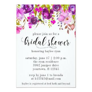 Cartão Aguarela roxa do chá de panela floral