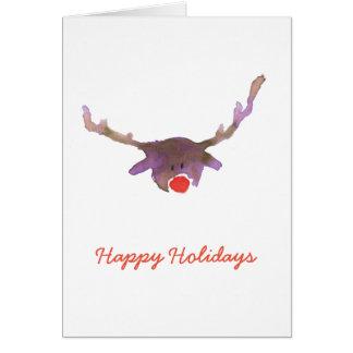 Cartão Aguarela roxa dos cervos da rédea